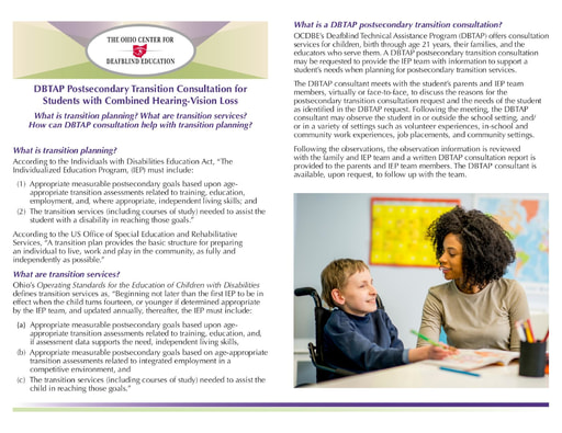 DBTAP Postsecondary Transition Consultation for Students with Combined Hearing-Vision Loss