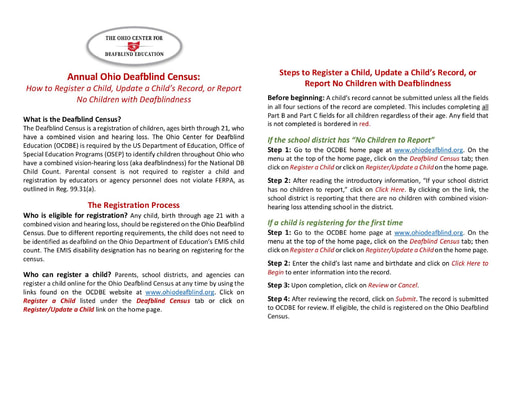 Annual Ohio Deafblind Census:  How to Register a Child, Update a Child's Record, or Report No Children with Deafblindness, 2020